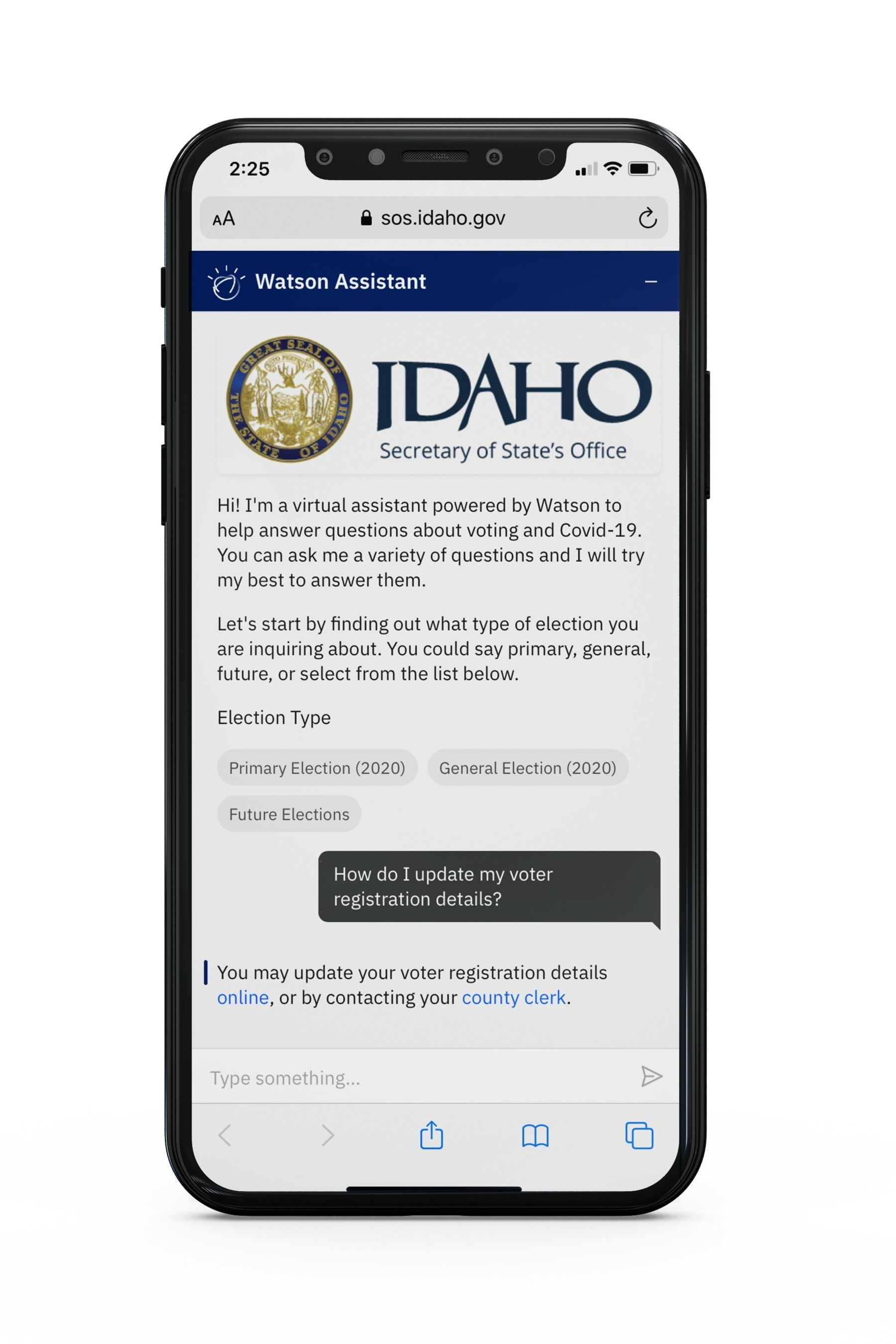 Screenshot showing Idaho Secretary of State virtual assistant application