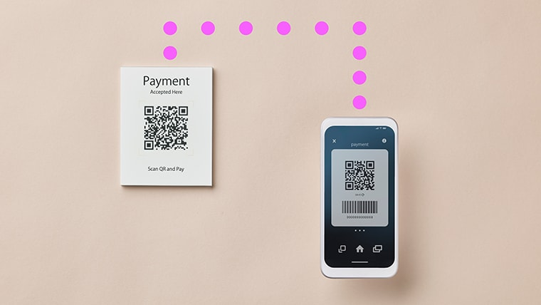 Payment being verified with a QR code