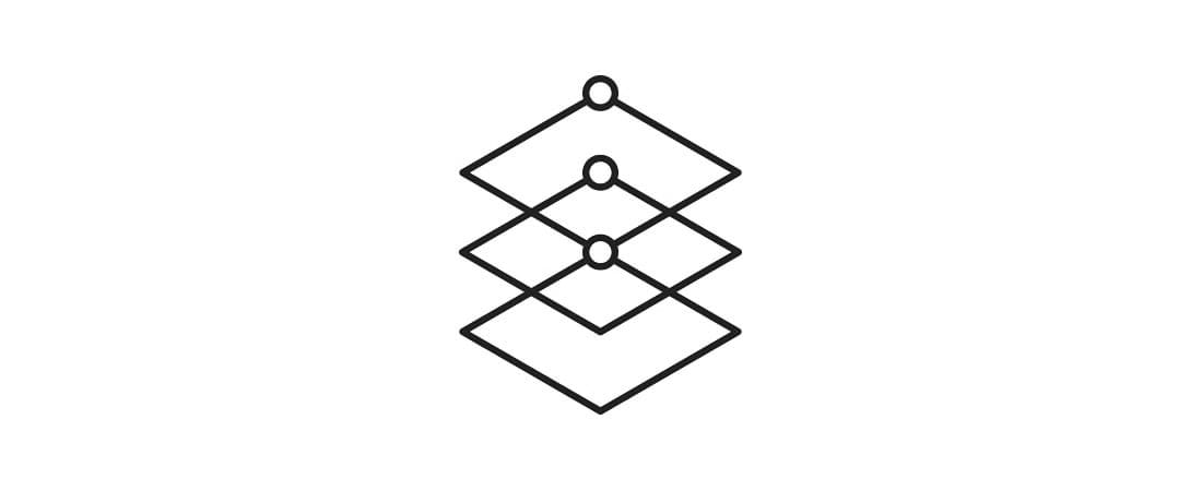 Icon showing interlocking squares forming a stack