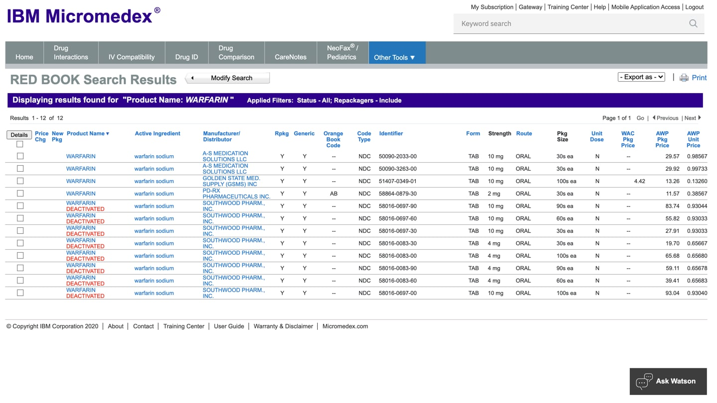 Screenshot of IBM Micromedex search results