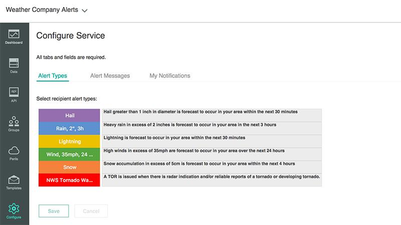 Screenshot of different recipient alert types within the Weather Company Alerts product