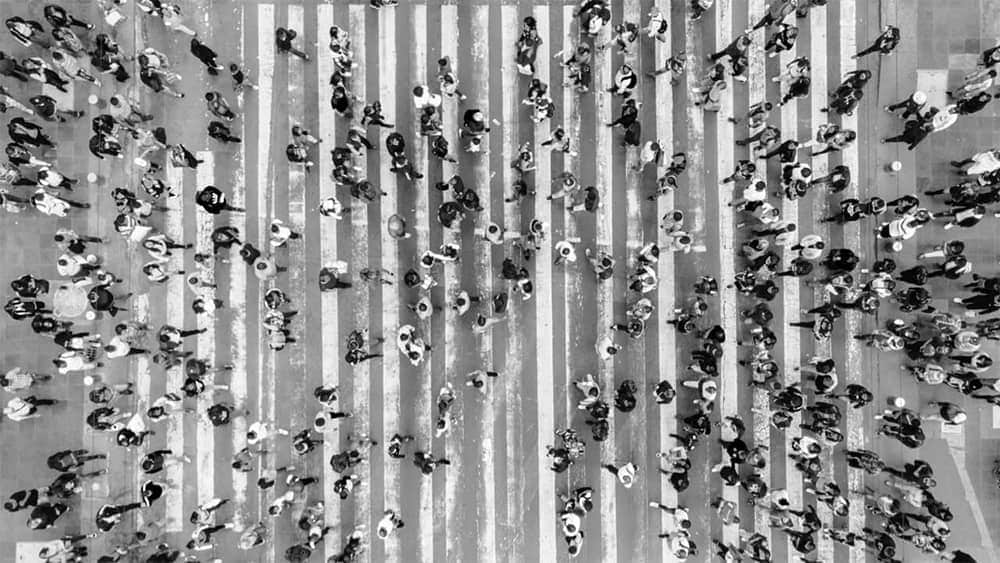 A top view from people walking on a street
