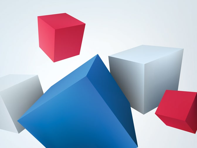 A collection of three-dimensional, multi-colored cubes