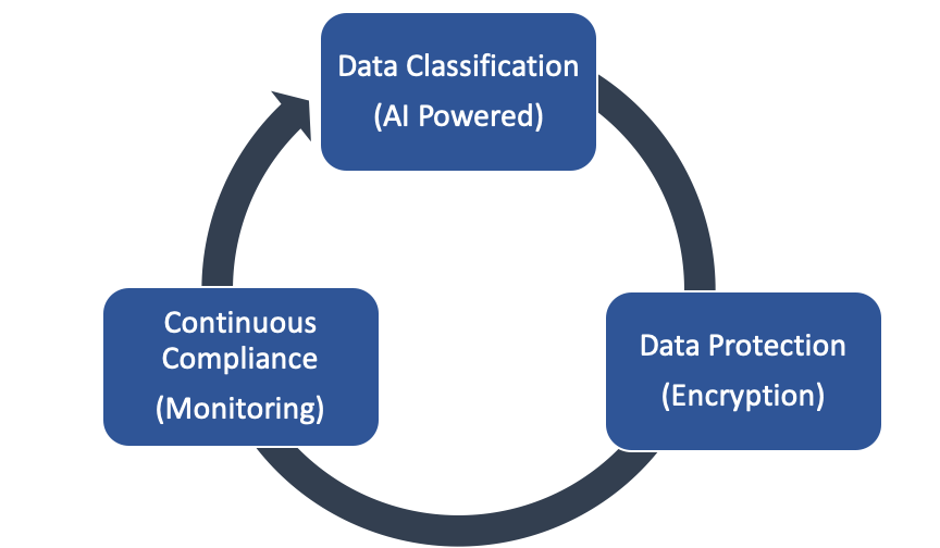When dealing with data security, several requirements must be addressed and consistently managed. To close the loop, these requirements typically involve data classification, data protection, and continuous compliance.