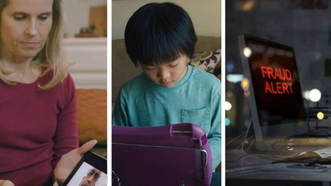 A blonde woman, an asian child, and a laptop screen
