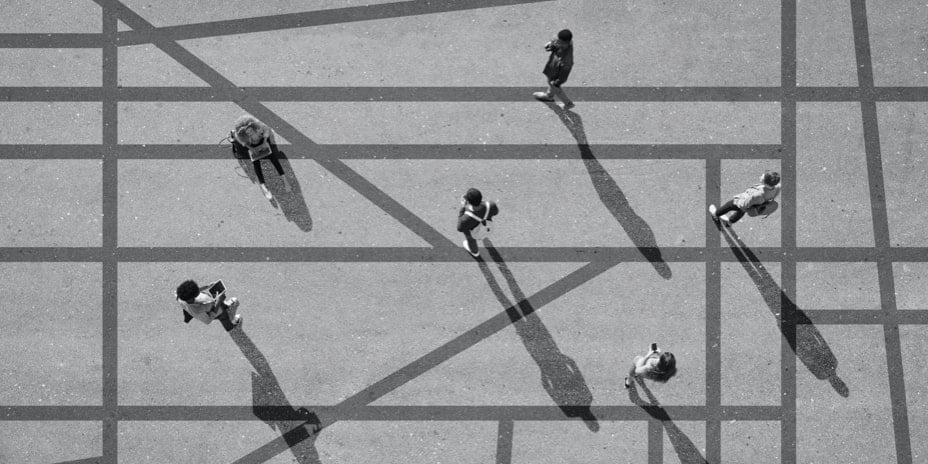 Aerial view of people social distancing outdoors