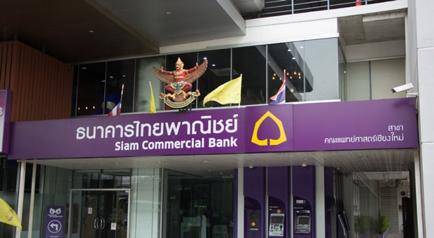 Street view of a branch office for the Siam Commercial Bank