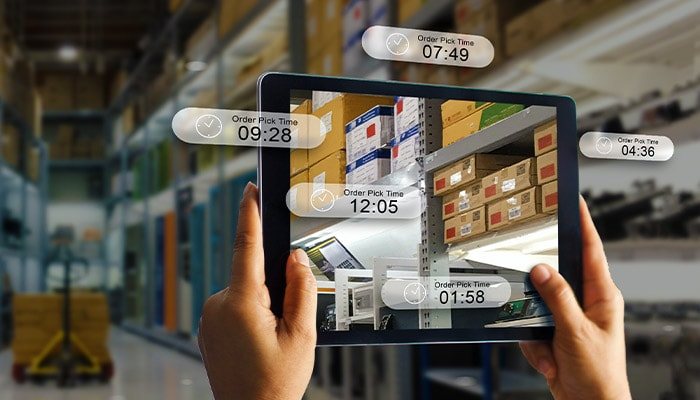 Tablet accessing AI driven inventory data in a warehouse