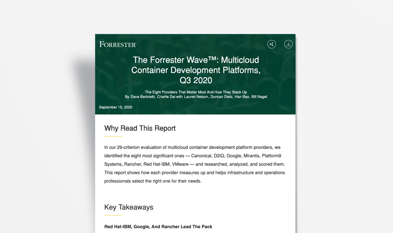 Cover of Forrester paper on Red Hat- IBM for multicloud container development