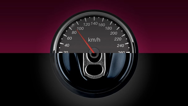 Illustration showing speedometer and soda can