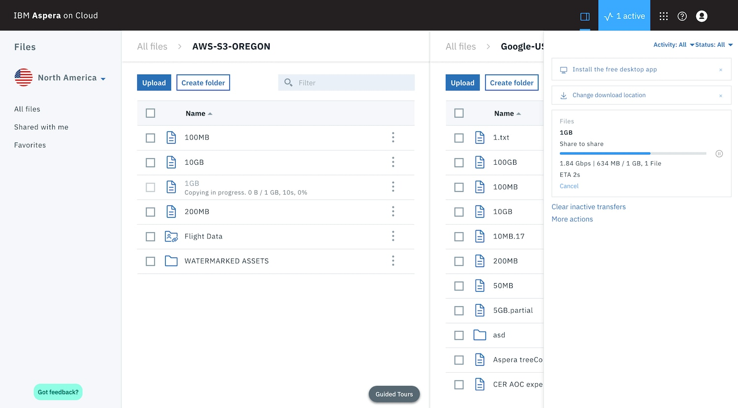 User interface of Aspera capability to drag-and-drop data between cloud and on-premises storage with Aspera