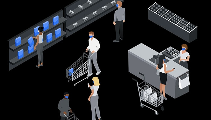 Illustration of people wearing PPE in a retail environment
