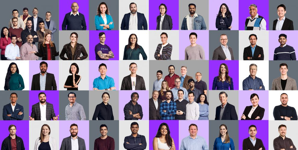Image of multiple people in a collage structure representing the IBM Data Science and AI Elite team