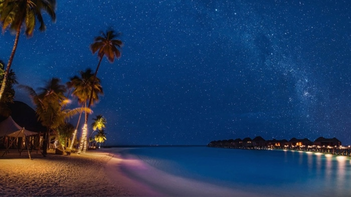 Night view of a beach