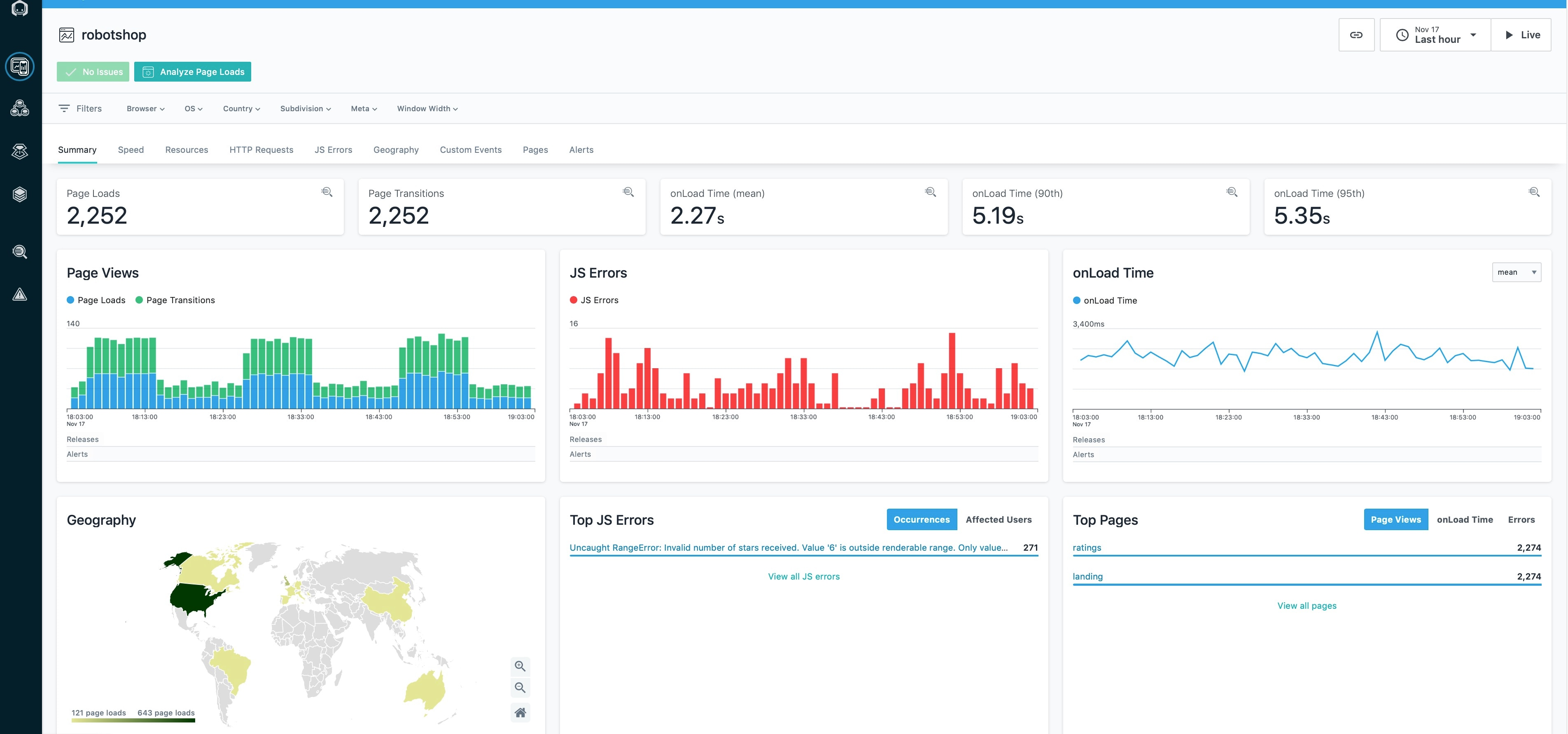 Screenshots from the Instana performance monitoring and observability platform.