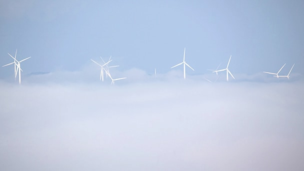wind turbines in the clouds