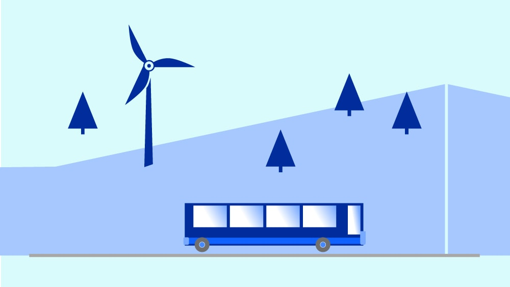 A draw of a bus, mountains and trees