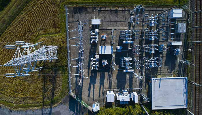 Overhead view of power station