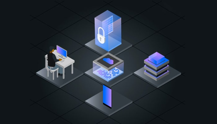 isometric illustration of homomorphic encryption services network