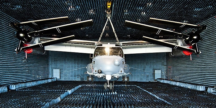 Aircraft being tested in anechoic chamber