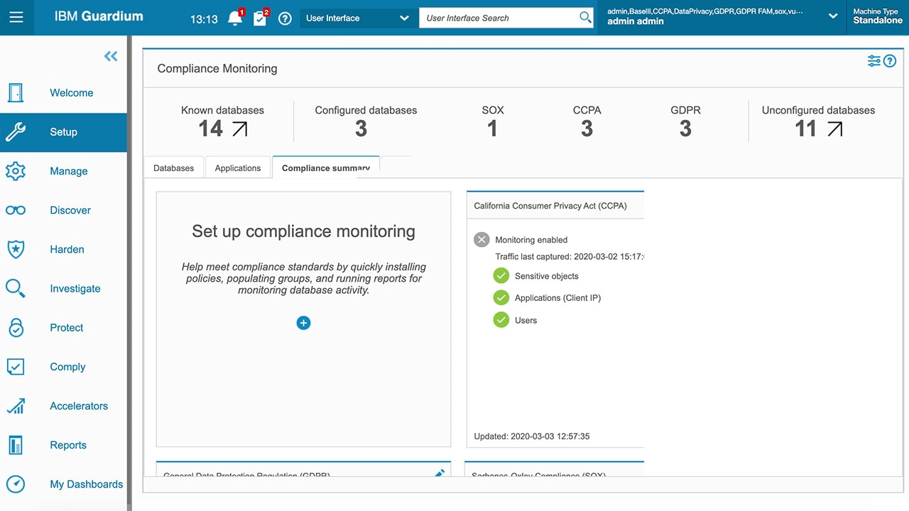 Screen shot of Compliance Monitoring report