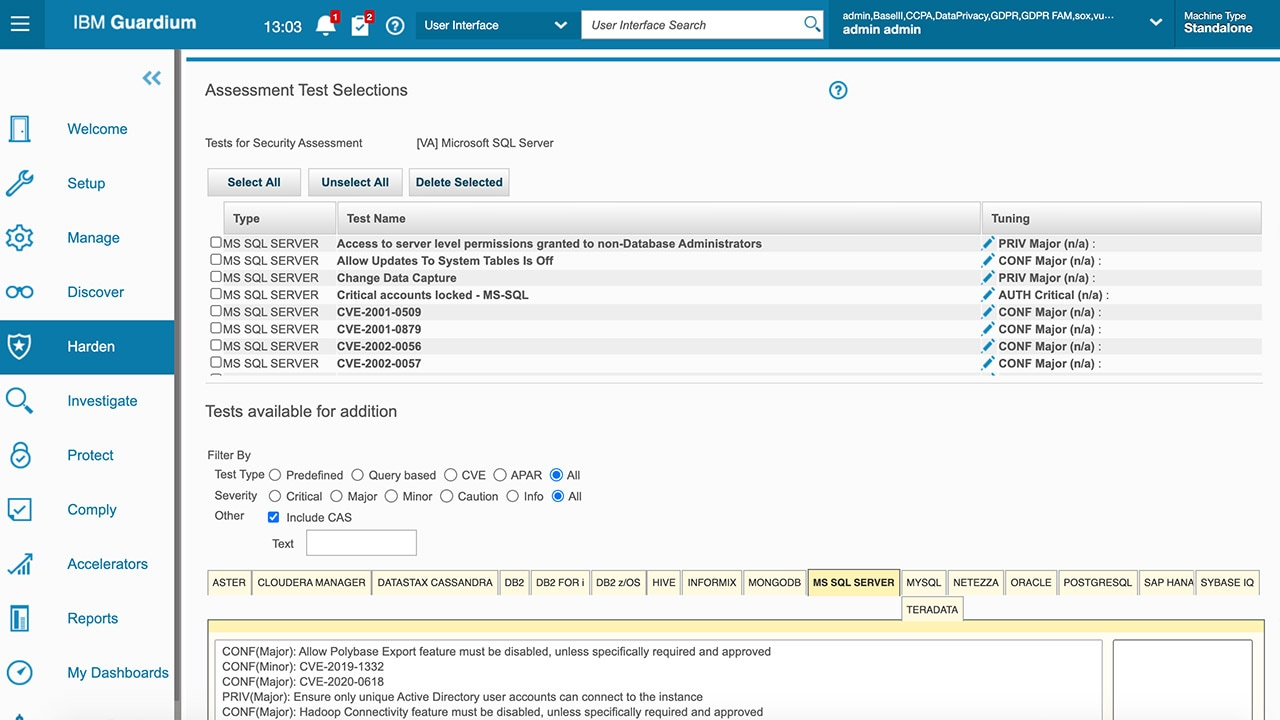 Screen shot of Vulnerability Assessment Builder test selection