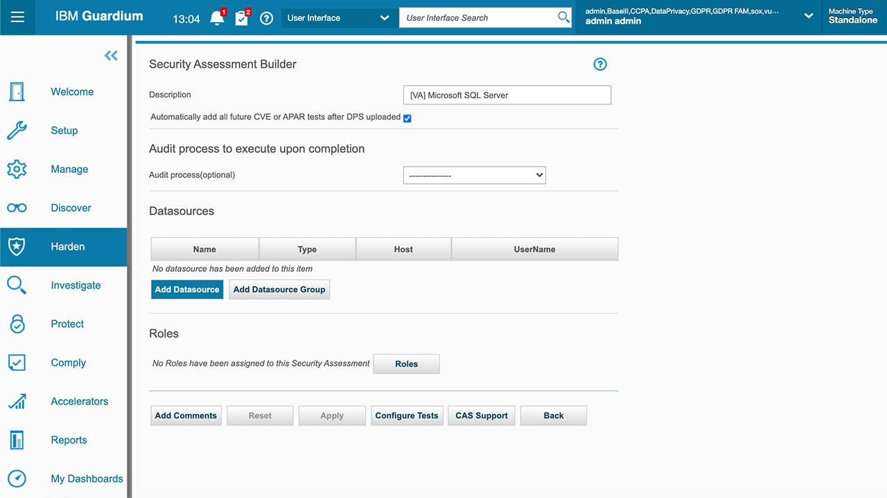 Screen shot of Vulnerability Assessment Builder