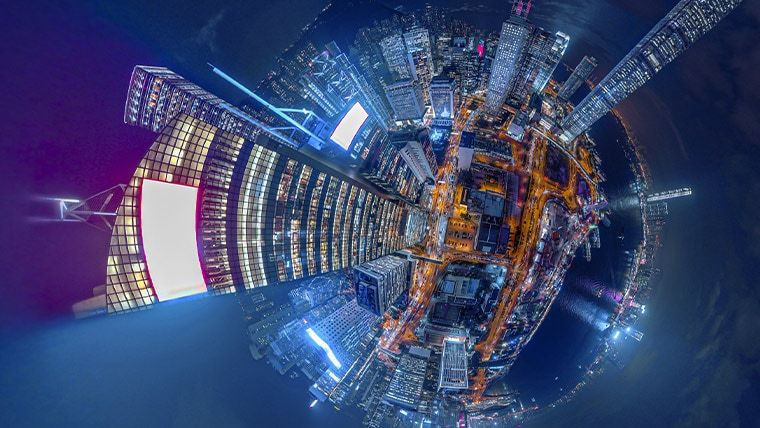 Fisheye view of city from above at night