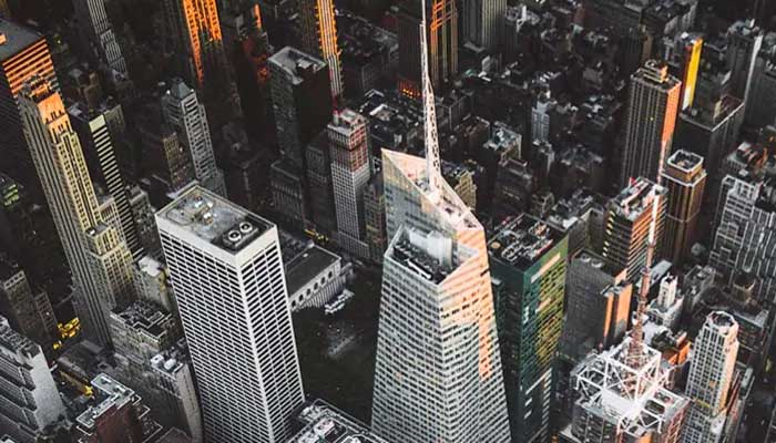 aerial view of city and skyscrapers