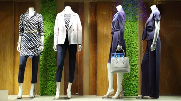 Mannequins with high end sustainable clothing