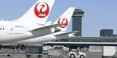 Japan Airlines planes at an airport