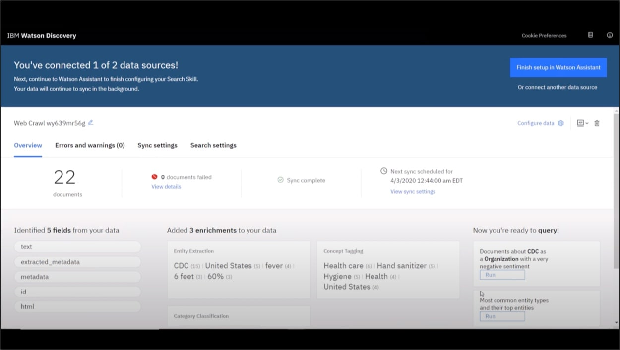 video of Watson Assistant interface with search skill feature using Watson Discovery to add data sources