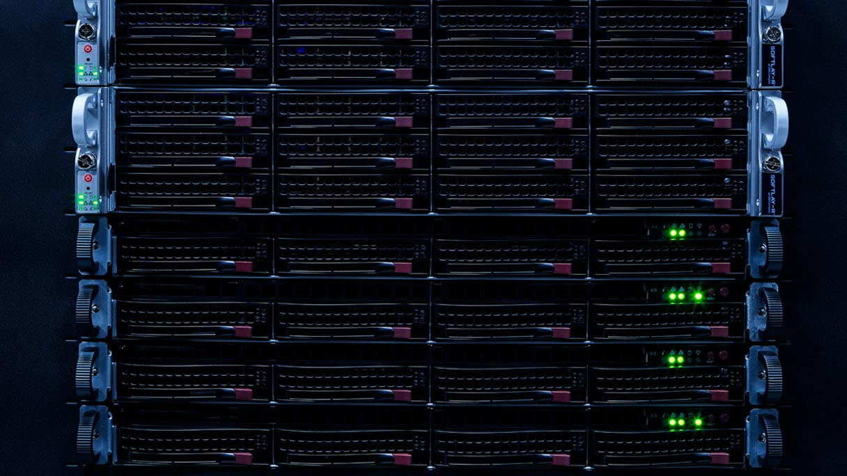 Servers in a rack, lit up in operation