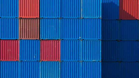 Aerial view of containers packed into a grid