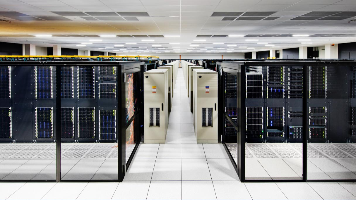View of the inside of a large server room