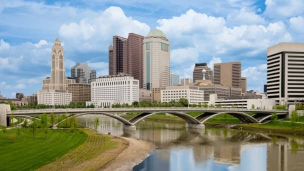 Image of iconic bridge, river and downtown Columbus, Ohio