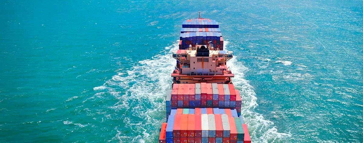 Container ship underway at sea