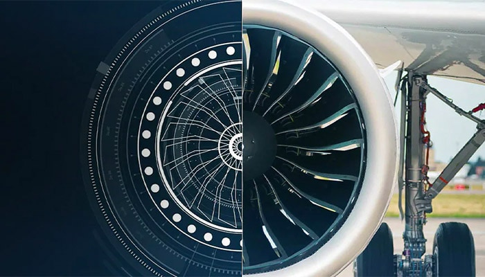 A jet engine represented realistically on one side and as a stylized blueprint on the other side