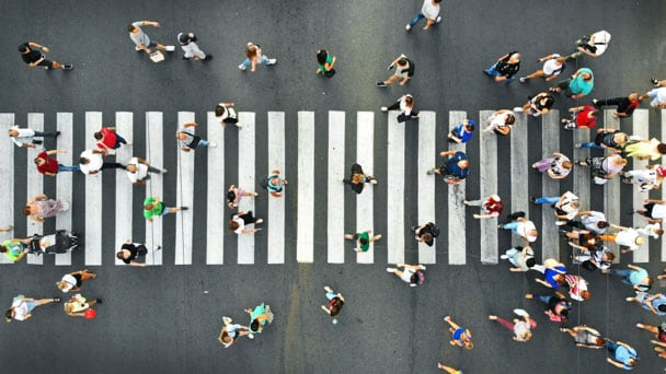 Aerial view of a side-walk full of people
