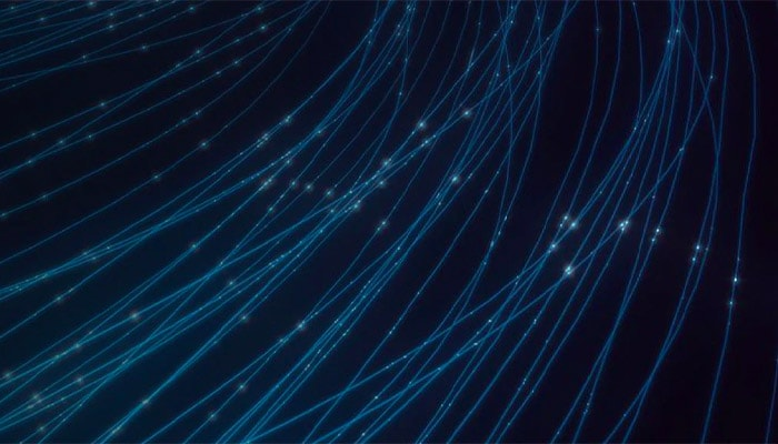 Abstract blue threads representing network data sharing