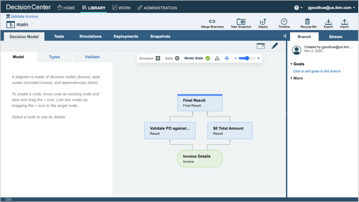 A screenshot of a decision model for validating invoices