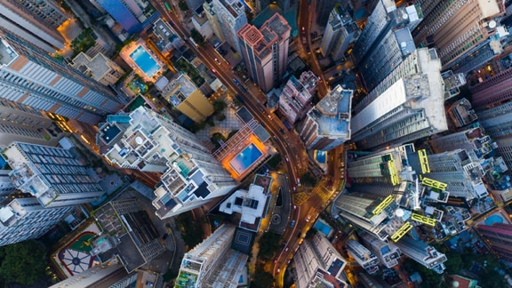 Top aerial view of high buildings in a city