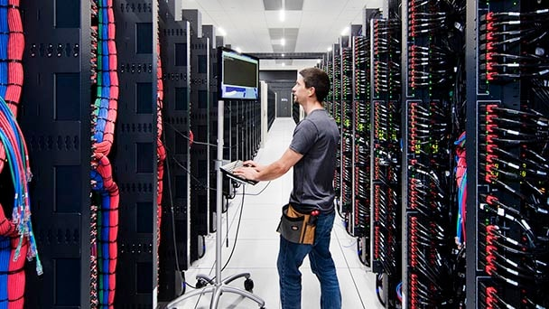 person in server room