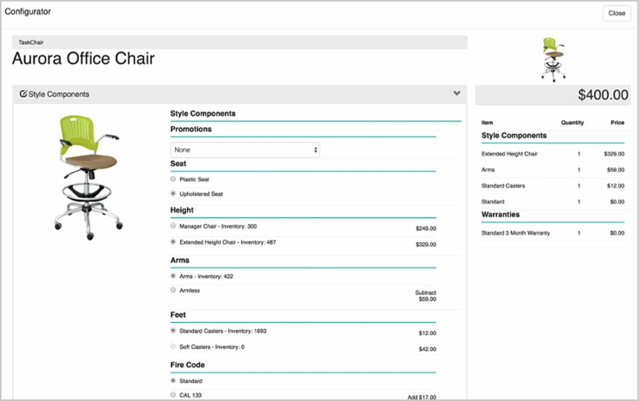 Screenshot showing configurator dashboard in IBM Sterling Configure, Price, Quote software