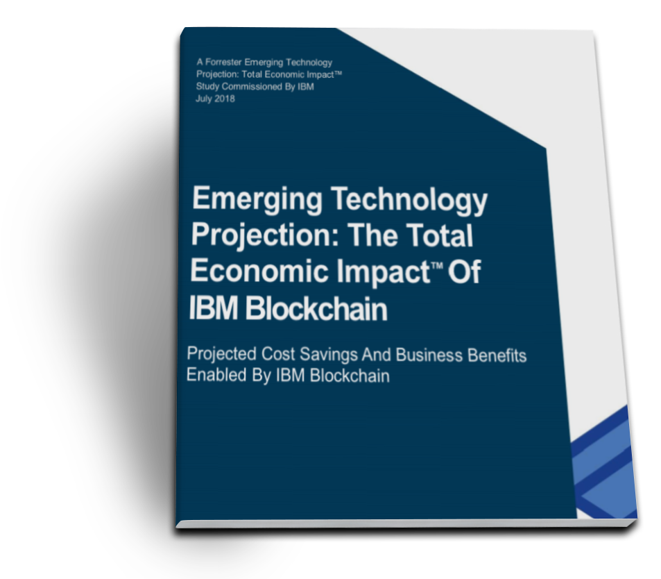 "Forrester report book cover for ""Emerging Technology Projection: Total Economic Impact™ Of IBM Blockchain"""