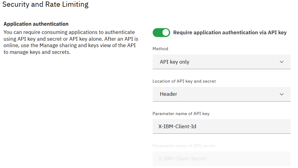 Enable Require application authentication via API key: