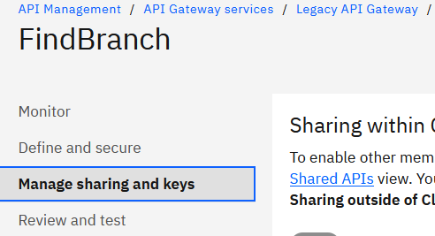 In the navigation list, select Manage sharing and keys: