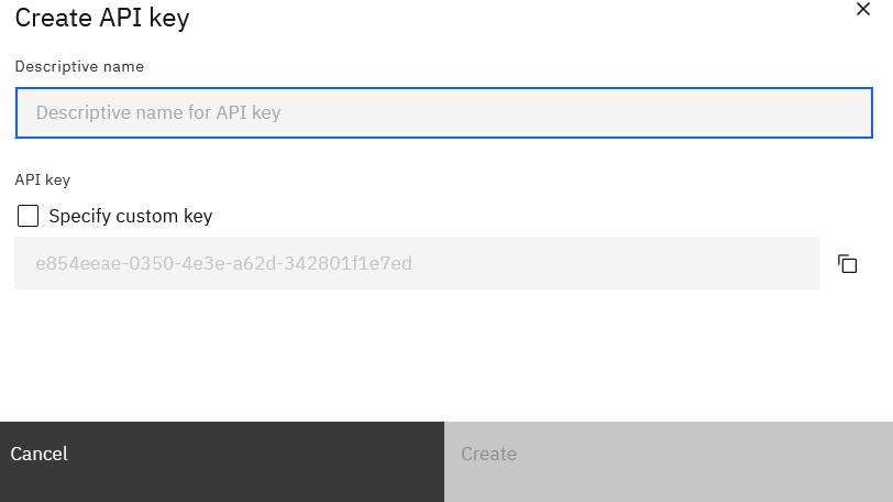Click Create API key:
