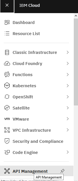 On the Dashboard, click on the Navigation menu and select API Management: