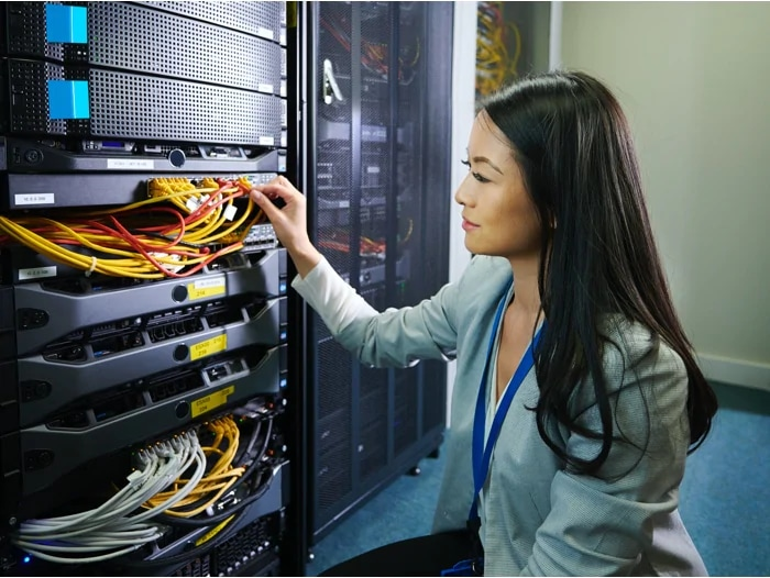 woman at server cable